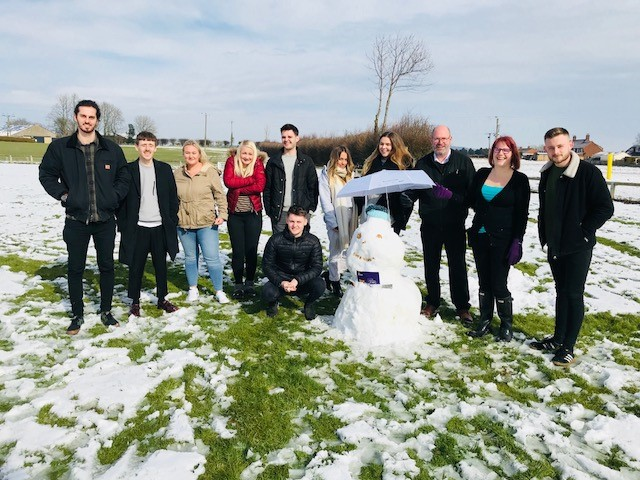 Our largest group for onboarding made the most of the weather and built a fantastic looking snowman!
